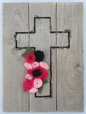 Felt flower cross